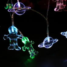Astronaut Outer Space Fairy lights Garlands on batteries 10led Color string light Party Wedding Room Decoration Science lighting