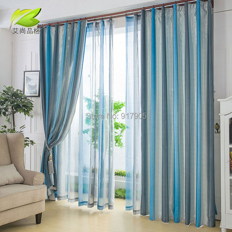 Hot Selling Fashion Blue Strips Tulle Sheer Curtains For