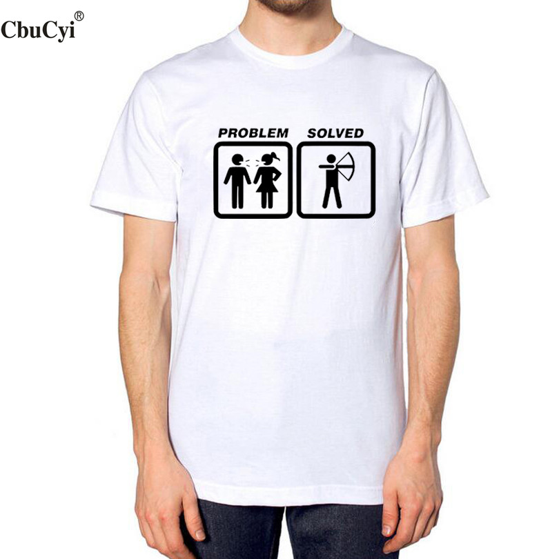 Funny T Shirts Problem Solved Archery Men's Cartoon ...