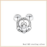 Beads 100% 925 Sterling Silver Mickey Shimmering Portrait Clip Beads for Jewelry Making Fit Pandora Bracelets CL072