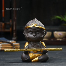 цена на WIZAMONY Chinese Purple Clay Kung Fu tea Set Tea Pet  Monkey King Tea Accessories for puer Oolong Tea Home Deco