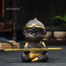WIZAMONY Chinese Purple Clay Kung Fu tea Set Tea Pet  Monkey King Tea Accessories for puer Oolong Tea Home Deco цена