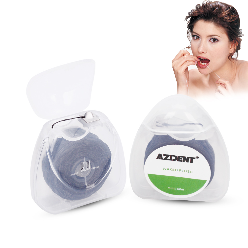 AZDENT 50M Black Dental Flosser Bamboo Charcoal Mint Flavor Built-In Spool Wax Replacement Core Toothpicks Teeth Tooth Cleaner prophylaxis paste mint flavor dental product