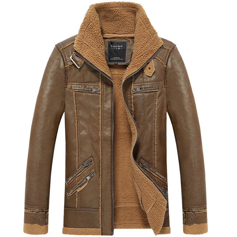 military style men's slim fashion winter warm leather ...