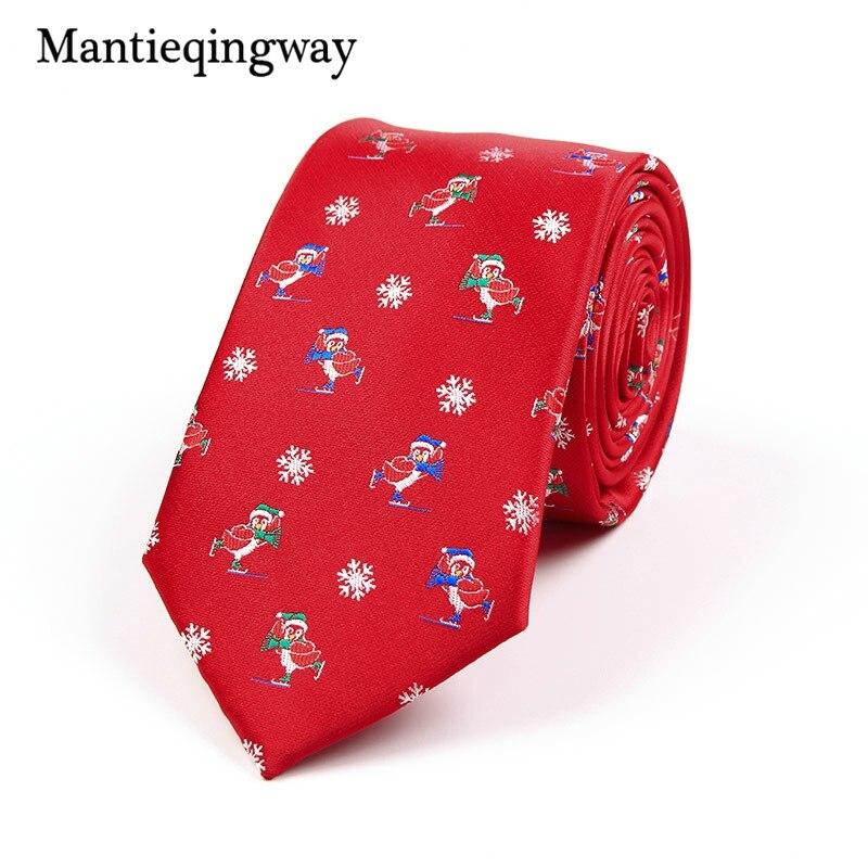 Mantieqingway Рождество для мужской галстук полиэстер 7.5 см жаккард Тощий Средства ухода за кожей шеи галстуки Gravatas тонкий Костюмы партии рождест...