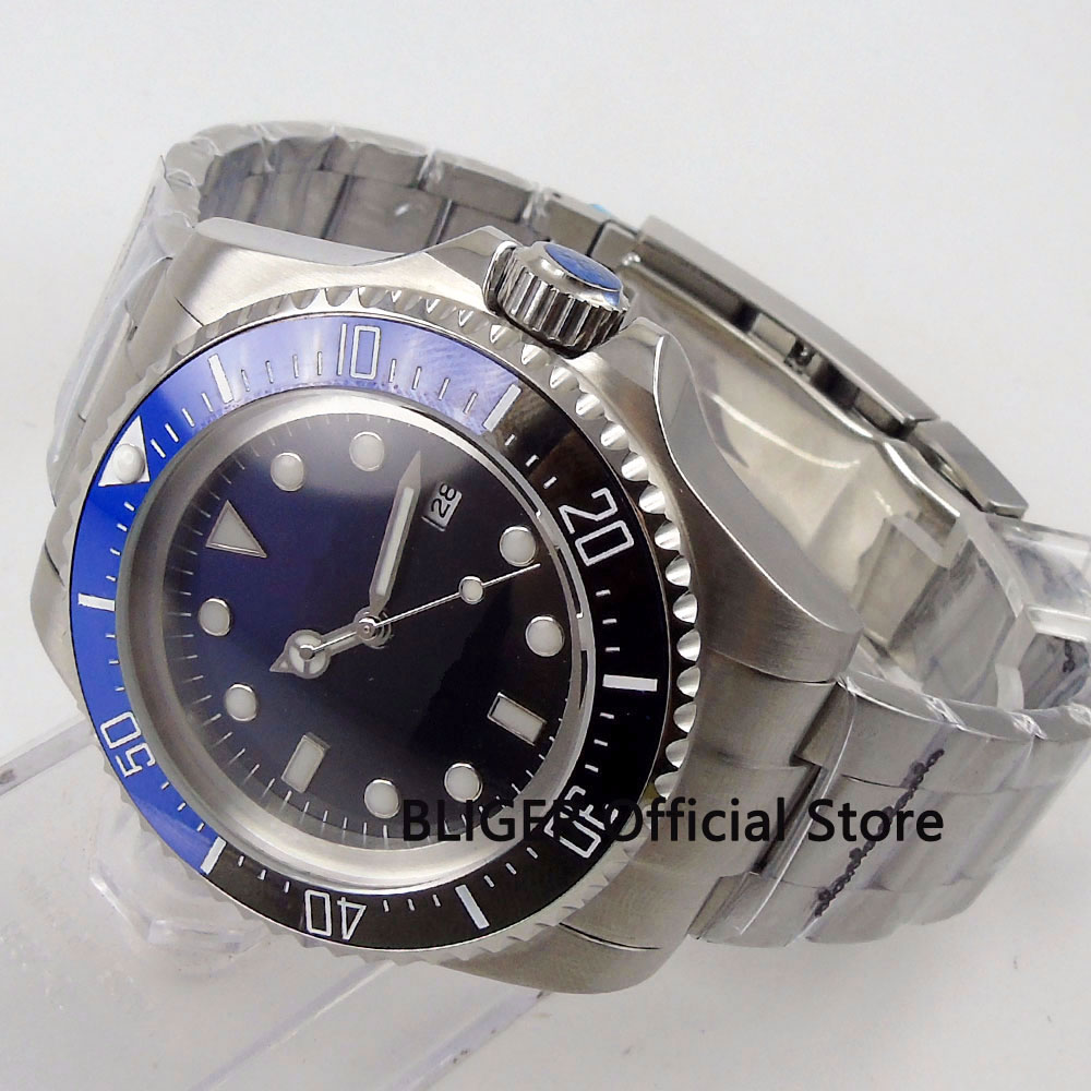BLIGER 44MM Black Blue Gradient Sterile Dial Men s Watch Ceramic Bezel Luminous Marks Solid MIYOTA