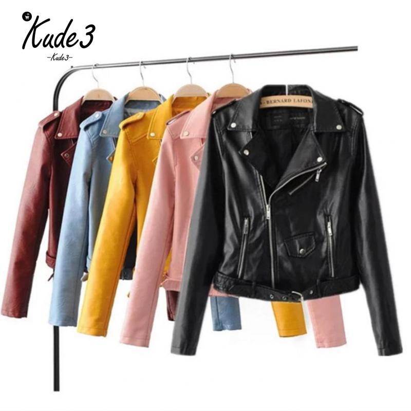 Women Candy Color Faux Pu   Leather   Short Motorcycle Jacket Zipper Pockets Sexy Punk Coat Ladies Casual Outwear Tops Casaco 8446