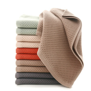 Image 1 - 1pc cotton super soft Honeycomb Towel Solid Color Super Absorbent Portable hair Face Towels Travel Bathroom Towel For Home Hotel