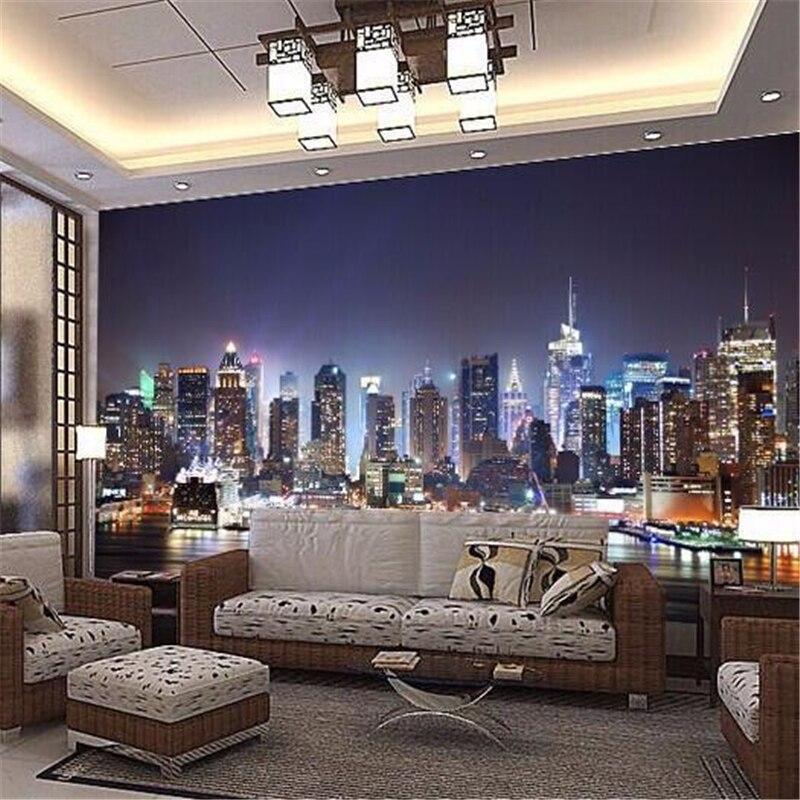 beibehang papel de parede Manhattan 3d papel de paede, New York City large mural wallpaper night background scenery TV sofa