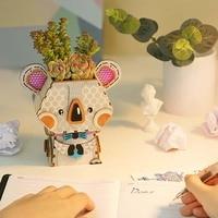 Creative DIY Cartoon Wood Flower Pot Crafts for Succulents Fleshy Plants Wooden Flowerpot Small Mini Home/Garden/Office Decor