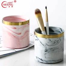 Gold Inlay Marble Pattern Pink Grey Makeup Brushes Holder Storage For Bathroom Vanity Kitchen Home Decor Ceramic Pen Container