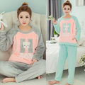 Winter Lovely Cartoon Hello Kitty Thick Flannel Maternity Pajamas Warm Nursing Nightwear Pregnancy Clothing Sets HOT SALE