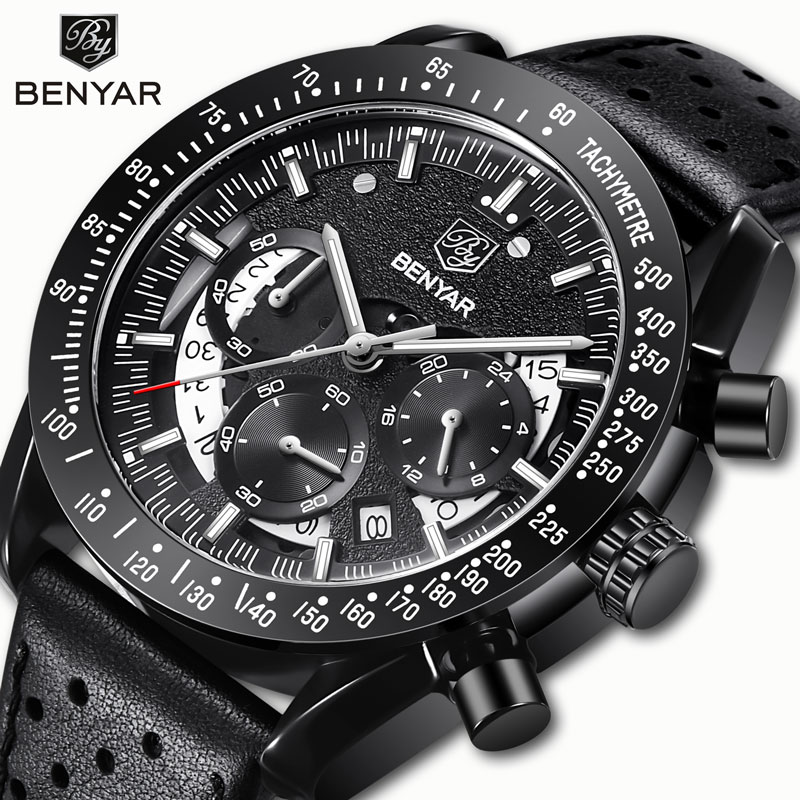 BENYAR мужские часы, кварцевые часы, спортивные часы для мужчин, хронограф, военный циферблат, наручные часы для мужчин, s часы, кожа, Erkek Kol Saati