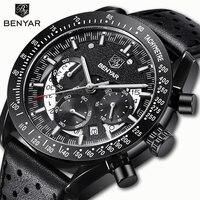 BENYAR Men's Watches Quartz Watch Sports Watch Men Chronograph Military Dial Wristwatches Mens Watches Leather Erkek Kol Saati