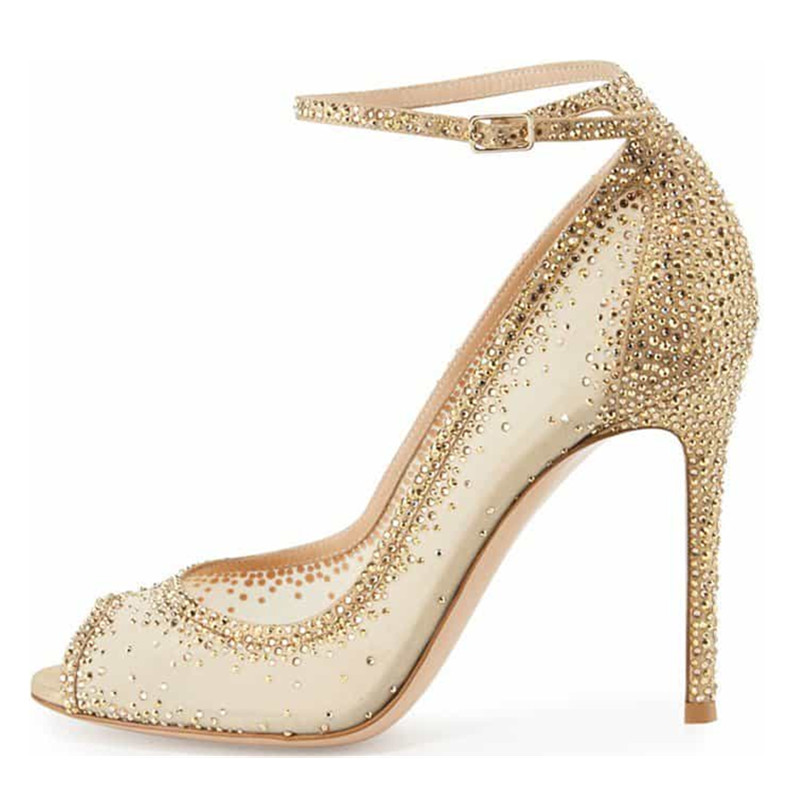 New Summer Stiletto High Heels Pumps Rhinestone Bling Wedding Shoes 2018  Chic Nude Sequin Mesh Pointed Toe Luxury Women S-in Women s Pumps from Shoes  on ... c43a71616f35
