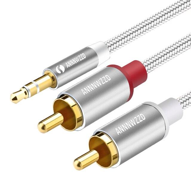 RCA Câble 2RCA à 3.5 câble audio 3.5mm jack rca aux câble 0.5 m 1 m 2 m 3 m 5 m Pour téléphone Edifer Home Cinéma DVD 2RCA audio câble