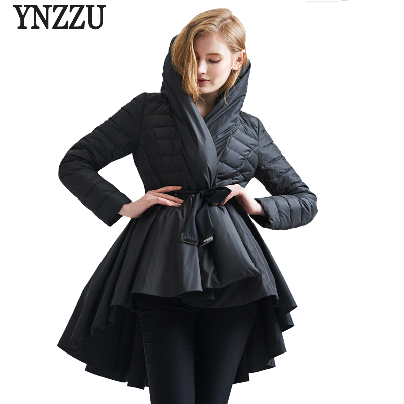 New Winter Women Down Jackets Brand White Black Elegant 90% Duck Down Coats Thickning Hooded Sashes Slim Women Outwears AO297