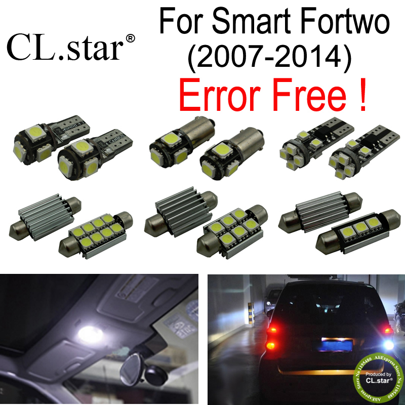 7pc X100% canbus Error free LED bulb Interior dome reading Light Kit Package for Smart Fortwo (2007-2014) 15pc x 100% canbus led lamp interior map dome reading light kit package for audi a4 s4 b8 saloon sedan only 2009 2015
