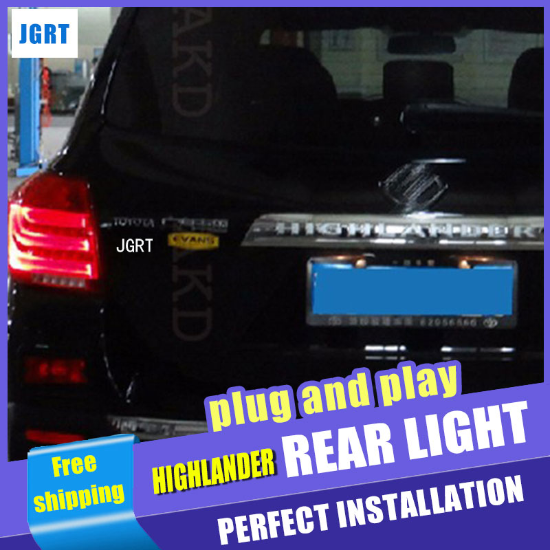 Car Styling LED Tail Lamp for Toyota Highlander Taillight assembly 2012-2014 Rear Light DRL+Turn Signal+Brake with hid kit 2pcs. car styling s25 1157 bay15d 20smd car led bulbs tail brake light 12v dual colors high power 5730 led lamp drl pack of 2