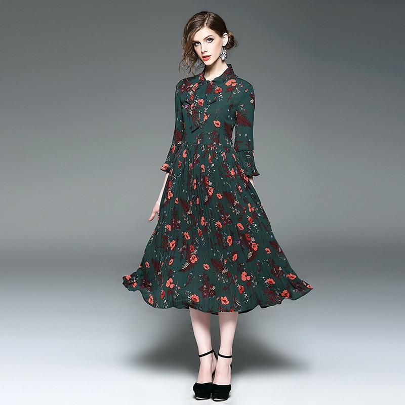 Mode 2017 NEUF de Haute qualité Printemps automne de luxe longue robe S M L Femmes  Vêtements Slim parti Vintage Robe f95f203e17a