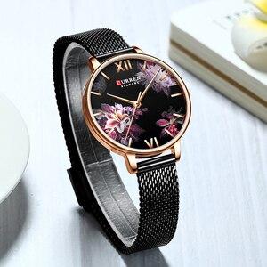 Image 2 - CURREN New Ladies Flower Watches Women Stainless Steel Bracelet Wristwatch Womens Fashion Quartz Clock reloj mujer Casual