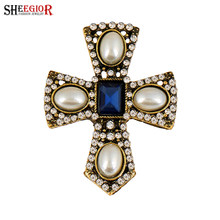 SHEEGIOR Vintage Berlian Imitasi Pearl Palang Bros Wanita Fashion Jewelry Pakaian Lencana Mens Bros Pin Kerah Gadis Aksesoris(China)