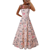 Women Long Prom Floral Formal Evening Embroidery Dress Top Grade Floral Party Embroidered Full Dress Sleeveless