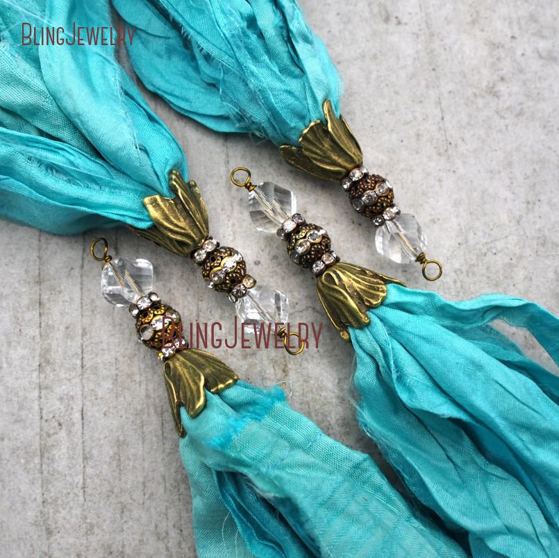 Turquoises <font><b>Sari</b></font> <font><b>Silk</b></font> <font><b>Tassel</b></font> Pendant Antique Bronze Cap and Crystal Accent PM9119 image