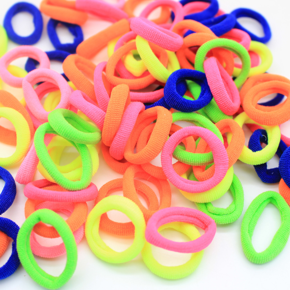 100pcs/lot Candy Color Hair Ropes For Kids Elastic Hair Bands Rubber Bands For Children Hairband Hair Accessories Size 2.5cm