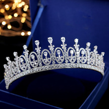 SLBRIDAL Luxury Classic Top AAA Cubic Zirconia Wedding Tiara Headband CZ Bridal Queen Princess Pageant Royal Crown Women Jewelry
