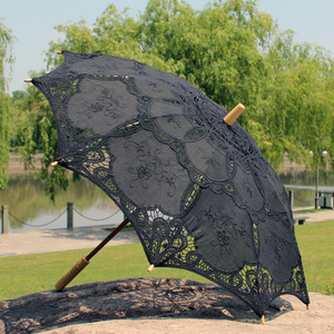 Image 5 - Outdoor Sun Protection Wedding Embrodiery Lace Parasol and Fan Set Party Guest Gifts
