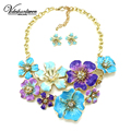 Vodeshanliwen Luxury Colorful Flowers Necklace Women Vintage Metal Charm Maxi Statement Necklace With Earrings Pendant Jewelry