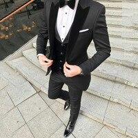 Пользовательский черный Терно Masculino Slim Fit Для мужчин блейзеры Свадебные смокинги для жениха максимумом нагрудные с бархатный жилет пальто б