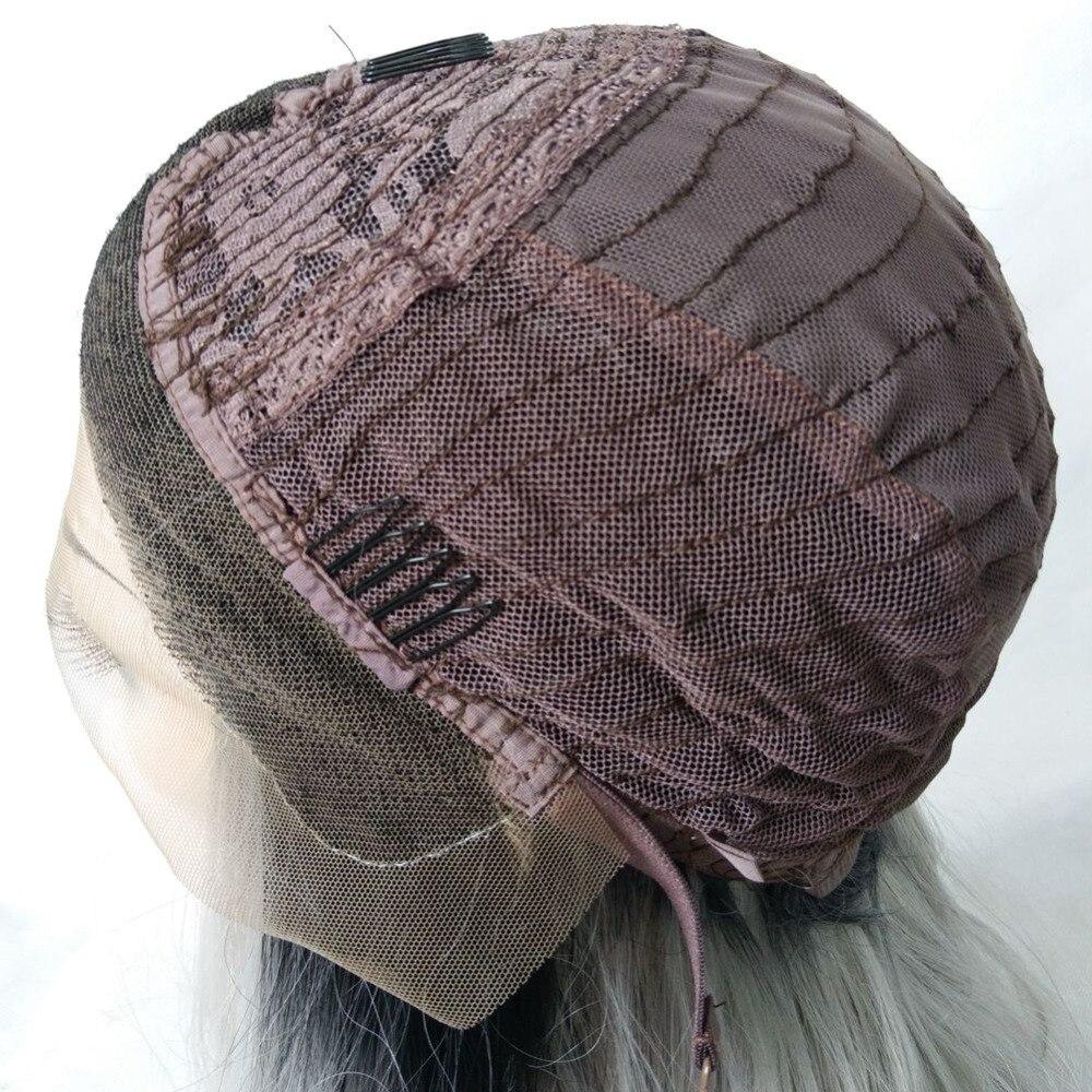 MRWIG 12 i kort bob rak syntetisk glansfri frampärm mittparti äkta - Syntetiskt hår - Foto 6