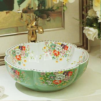 Jingdezhen fabryka bezpośrednio sztuka ręcznie malowana ceramika umywalki umywalki łazienkowe zielony tanie i dobre opinie JINGYILE ceramic ROUND Blat umywalki Szampon umywalki Ręcznie malowane Ociekaczem Jeden otwór as show picture porcelain