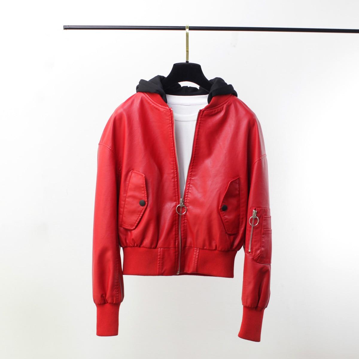 Girls Motorcycle Coat Women Autumn Hooded PU Faux   Leather   Jacket Female Baseball Outerwear Loose Short Long Sleeve Red Jacket