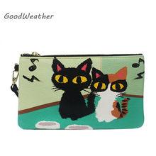 22541cbf7 Designer de saco de embreagem para a mulher fashion bolsa pequena bolsa do  couro genuíno verde senhoras gatinho impressão envelo.