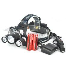 Boruit RJ-3001 8000 Lúmenes XM-L T6 + R5 LED Cabeza de La Antorcha 4 Modos Faro Recargable Linterna Luz de la Cabeza + 2×18650 Batería y Cargador