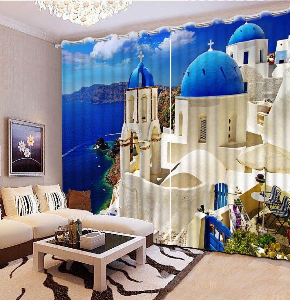 Rideau 3D Simple blocage salon chambre cuisine rideaux fenêtre bleu ciel, la mer 3d rideau décoration de la maison