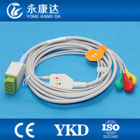 One piece 11Pin 3leads ECG cable and leadwires with snap for GE medical,IEC,,CE&ISO13485