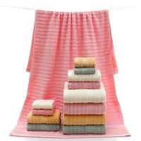 Neue 3 teile/satz baumwolle absorbent bad blatt hand gesicht towel einfarbig für haushalt waschlappen badezimmer liefert