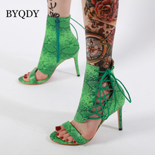BYQDY Designer Snake Print Sandals Cross-tied Roman Sexy High Heels Peep Toe Shoes Wedding Party Woman Size 35-40