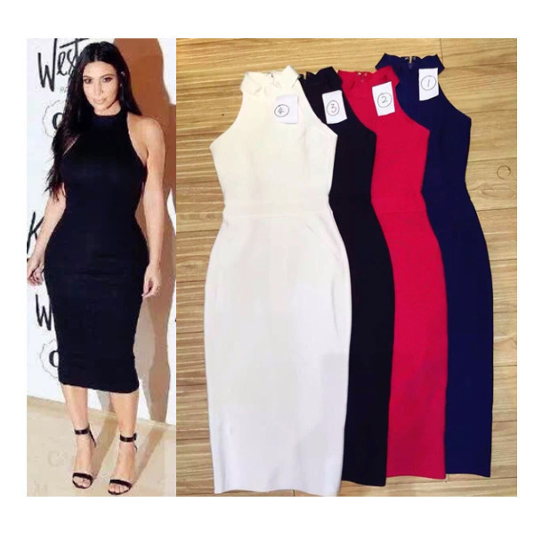 4e6db221f5d0 Womens turtle neck sleeveless blue white midi bandage rayon black hl kim  kardashian bodycon dress