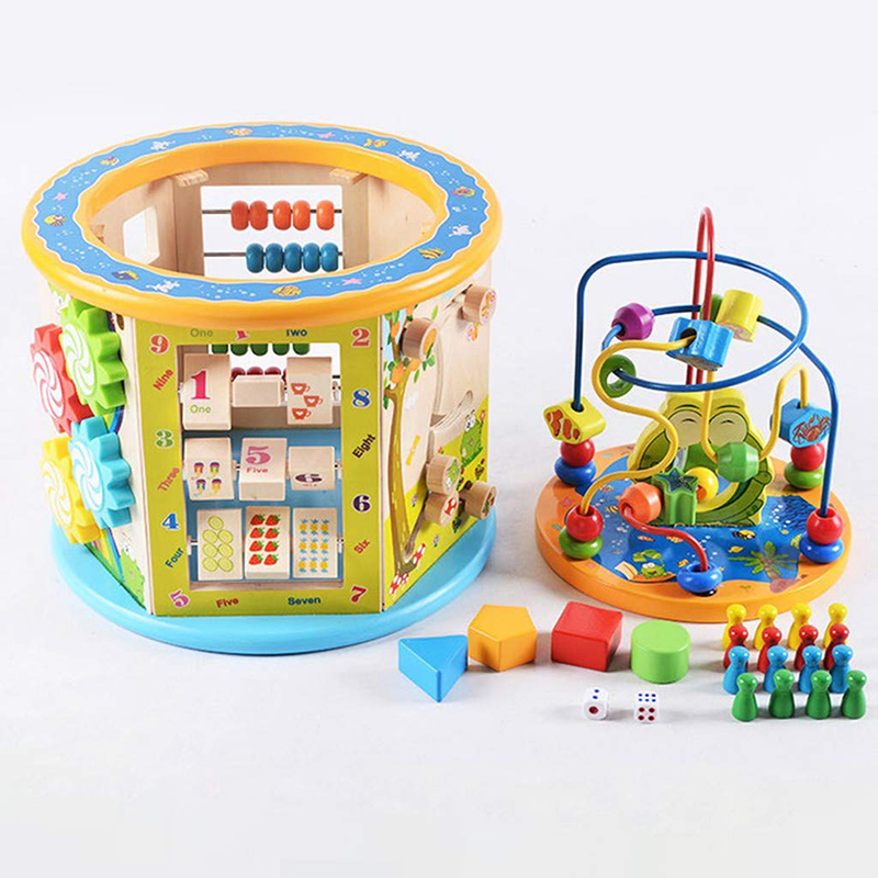 Montessori pour enfant en bois 8 en 1 multi-usages activité Cube Center jouets éducatifs perle labyrinthe début d'apprentissage jouet pour enfants cadeaux - 5