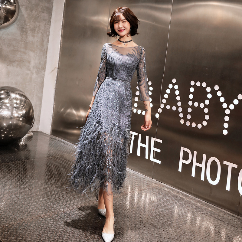 New Style Tea-length Gray Evening Dresses 2019 Feathers Formal Prom Gowns Bestido De Festa Abiye Black Evening Gown LYFY82