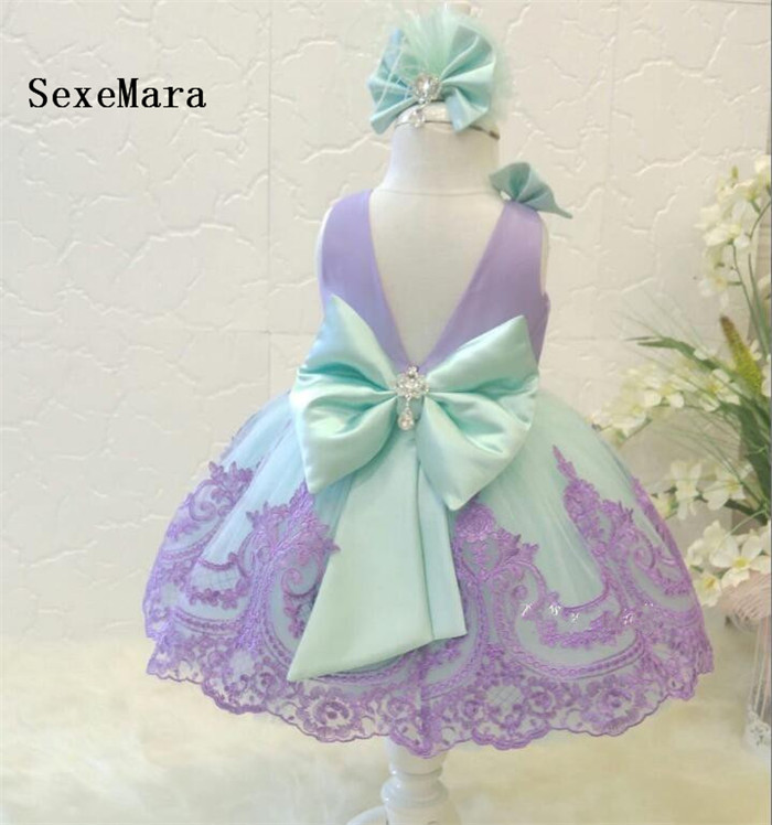 f94d1b52e Real Pictures O Neck Baby Girls First Birthday Dress Purple Lace Knee  Length Little Princess Christmas Dress Party Gown with Bow