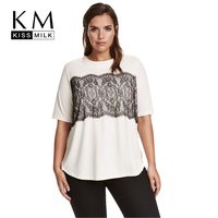 Kissmilk Plus Size Women Clothing Casual Solid Lace T Shirt Patchwork Short Sleeve Tops Tees O