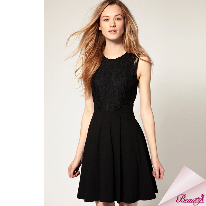 2013 Fashion Summer Knee Length Sexyy Black Lace Dress All Express