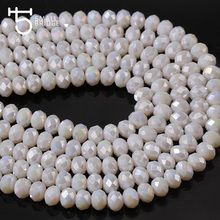 4mm White Rondelle Ceramic Beads Austrian Crystal Glass Beads for Jewelry Making Needlework Decoration 150pcs Wholesale Z141
