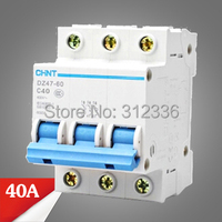 Free Shipping 2 years Warranty DZ47 60 C40 3P 40A 3 pole domestic C type small air switch unipolar Electric shock protection